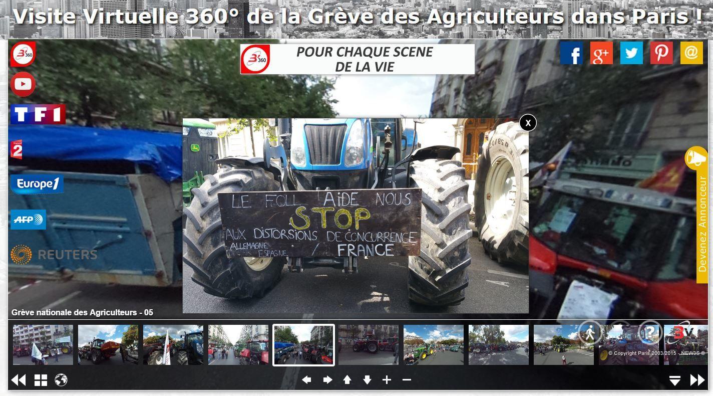 La révolte des Agriculteurs au format panoramique 360° interactif - Ecoutez regardez revivez grâce à B'360