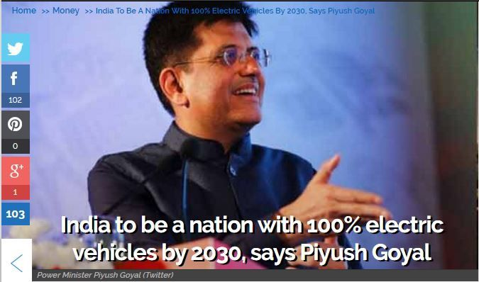 India to be a nation with 100% electric vehicles by 2030, says Piyush Goyal Power Minister