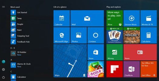 Le menu Démarrer de Windows 10 Anniversary Update changera