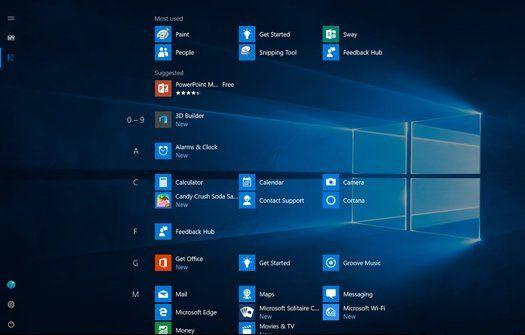 La vue de l'écran Démarrer en mode tablette change également pour utiliser tout l'espace disponible à l'écran pour afficher le listing des applications sur tout l'espace utile.
