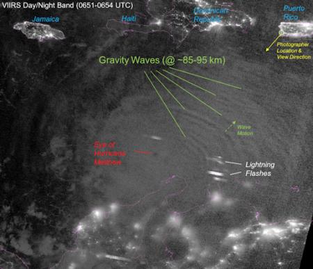 La photo ci-dessus montre-t-elle vraiment « les ondes de gravité » entourant l'ouragan Matthew ? Ou faut-il y voir la signature d'ondes radio et micros-ondes extrêmement puissantes interagissant avec les aérosols atmosphériques dispersés par des avions ? Ces deux éléments sont au cœur de la manipulation de l'ouragan et de sa direction.