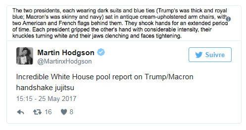 Trump &quot&#x3B;anéanti&quot&#x3B; par la poignée de main de Macron : la presse compte les points