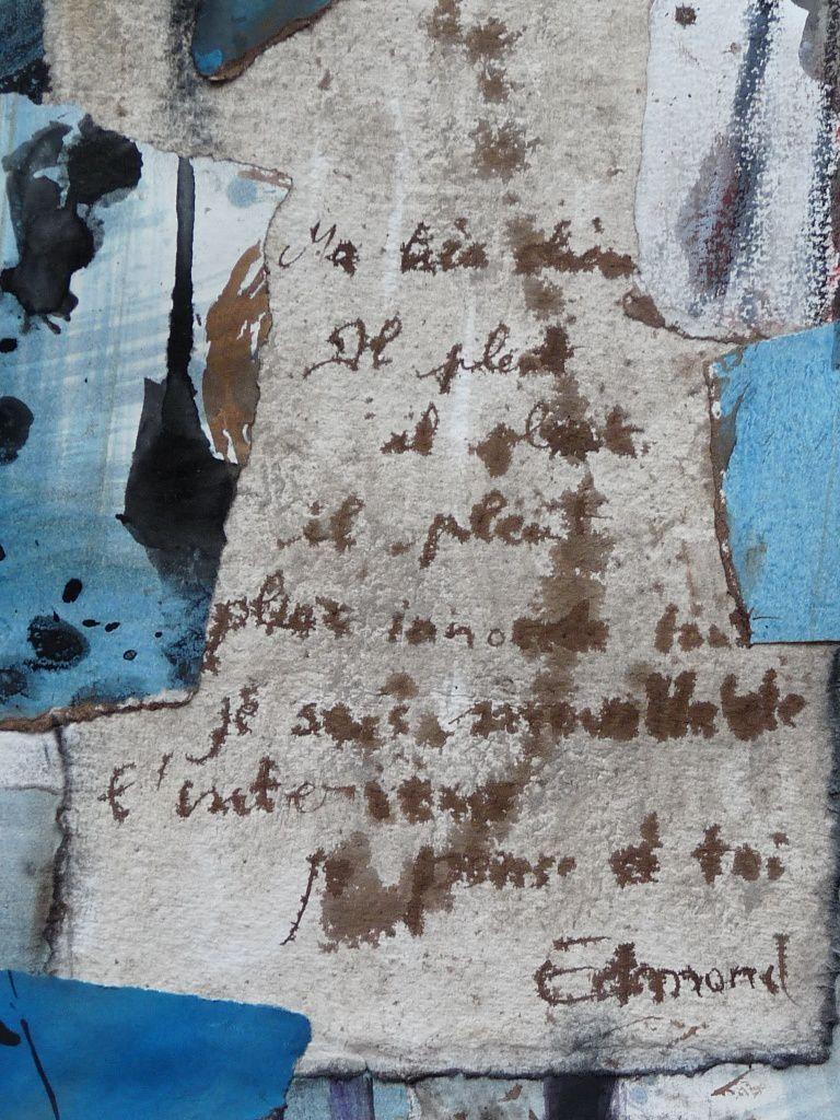 d'après la Liseuse en bleu de Vermeer, travail sur la lettre sur papier indien en coton 320 g Khadi  , lavis à la cendre , collage (extrait)