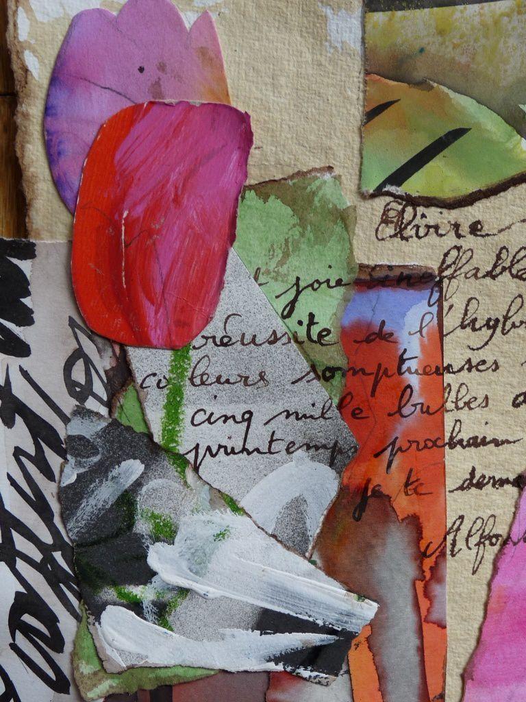 d'après la Liseuse en bleu de Vermeer, travail sur la lettre sur papier indien en coton 320 g Khadi  , lavis, collage (extrait)