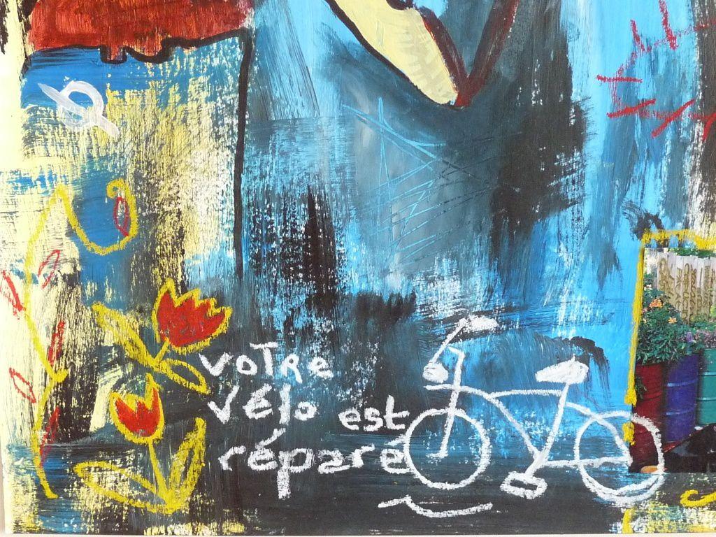 d'après la Liseuse en bleu de Vermeer, à la manière de J.M. Basquiat, 50 x65 cm, acrylique, collage, pastel gras (extrait)