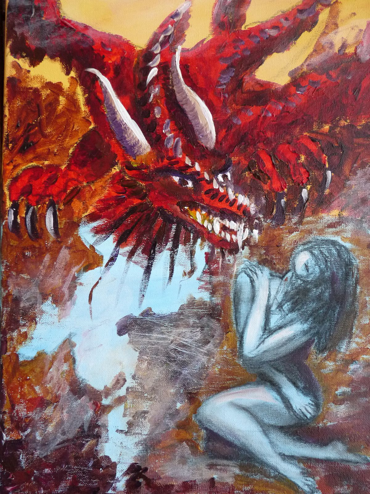 "Le dragon qui dit ""Loose yourself"" acrylique et fusain sur chassis toilé 33 x 45,5 cm"