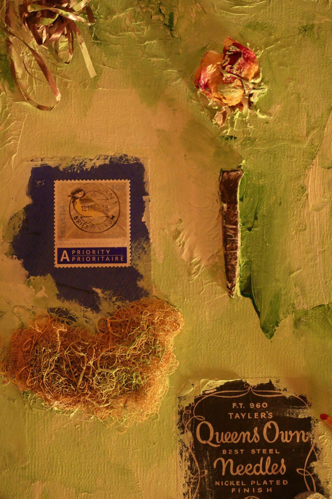 """En attendant"" ( collage, acrylique ) ( extrait) by Chry"