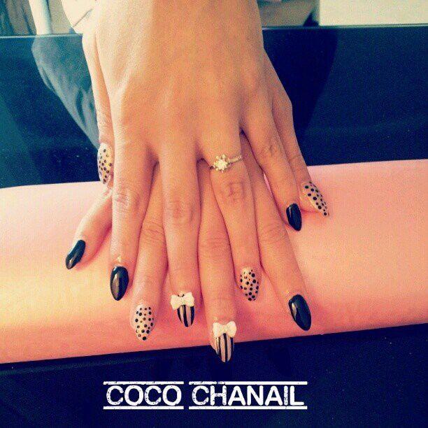 77 pose gel uv au chablon stiletto nails gel noir et beige iris deco nail art et noeud r sine - Ongle gel beige ...