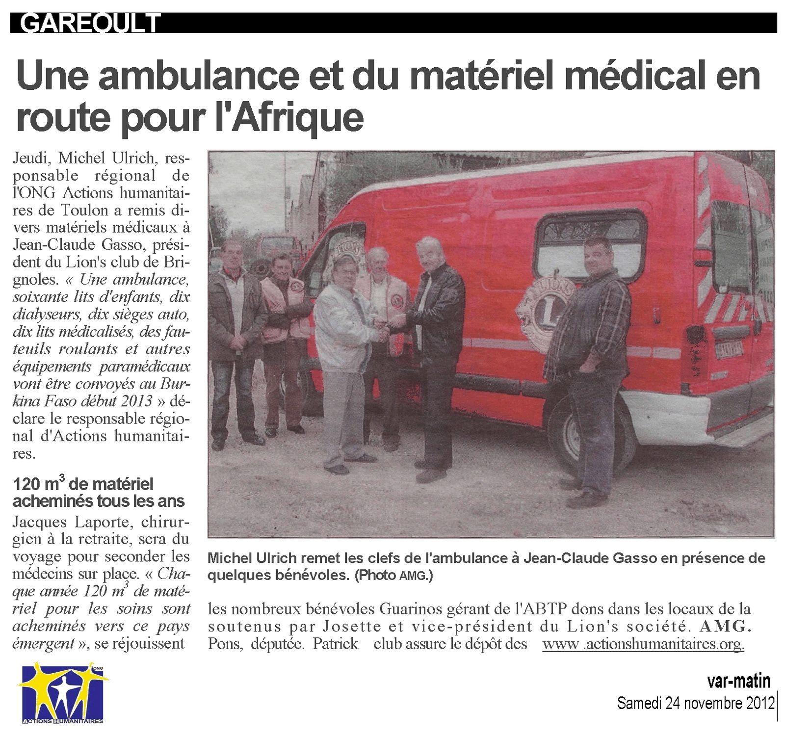 Une Ambulance pour le BURKINA FASO