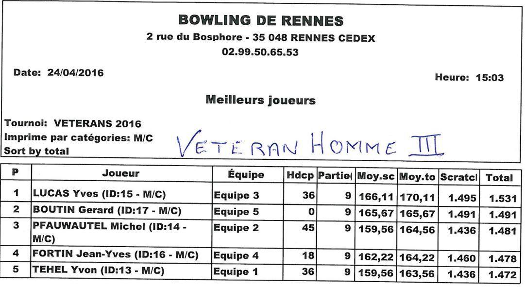 Championnat de France Vétéran - Phase départementale 35 - 24 avril 2016 RENNES
