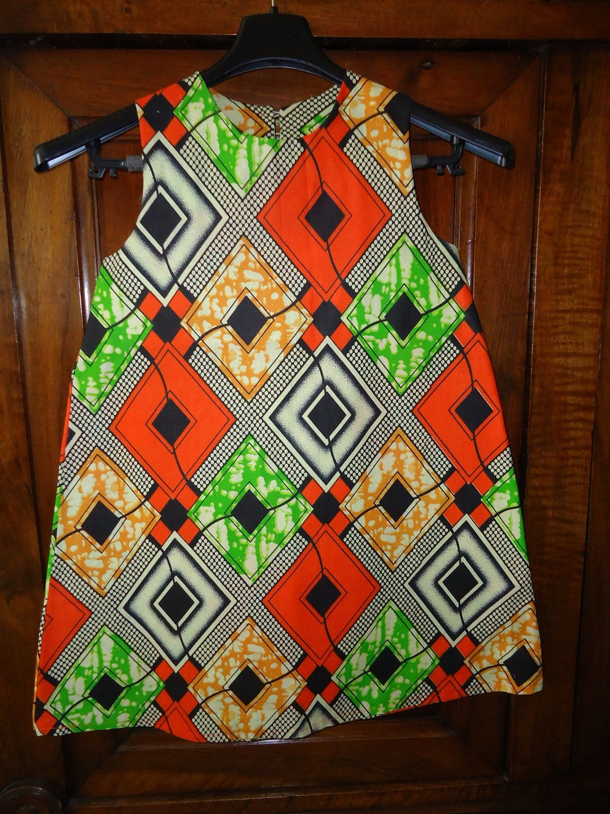 Robe chasuble trapèze en tissus Africain