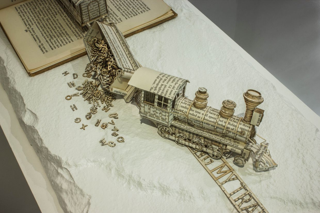 Book Sculpture: Derailing my train of thought