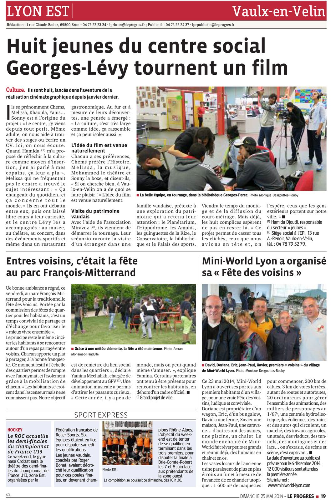 """Article paru dans """"Le Progrès de Lyon"""" du Dimanche 25 Mai 2014"""