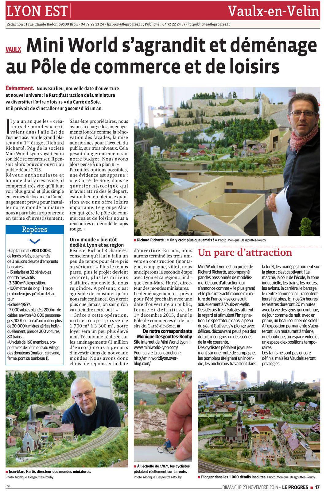 Article Le Progrès du 23 Novembre 2014