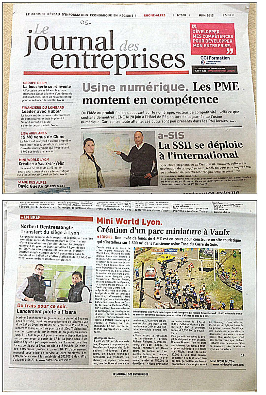 Le Journal Des Entreprises - Juin 2013 - Une et Article