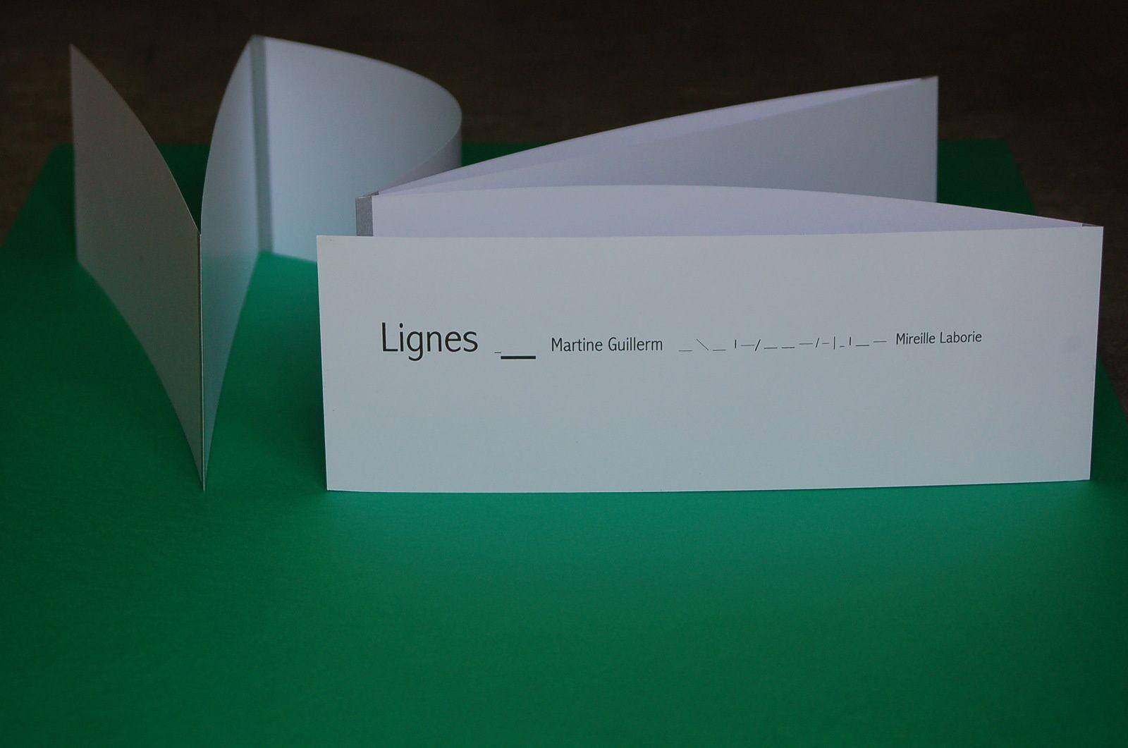 """LIGNES Texte de Martine Guillerm.Conception et réalisation Mireille Laborie. Edité en 7 exemplaires """"Atelier Chatmalou"""""""