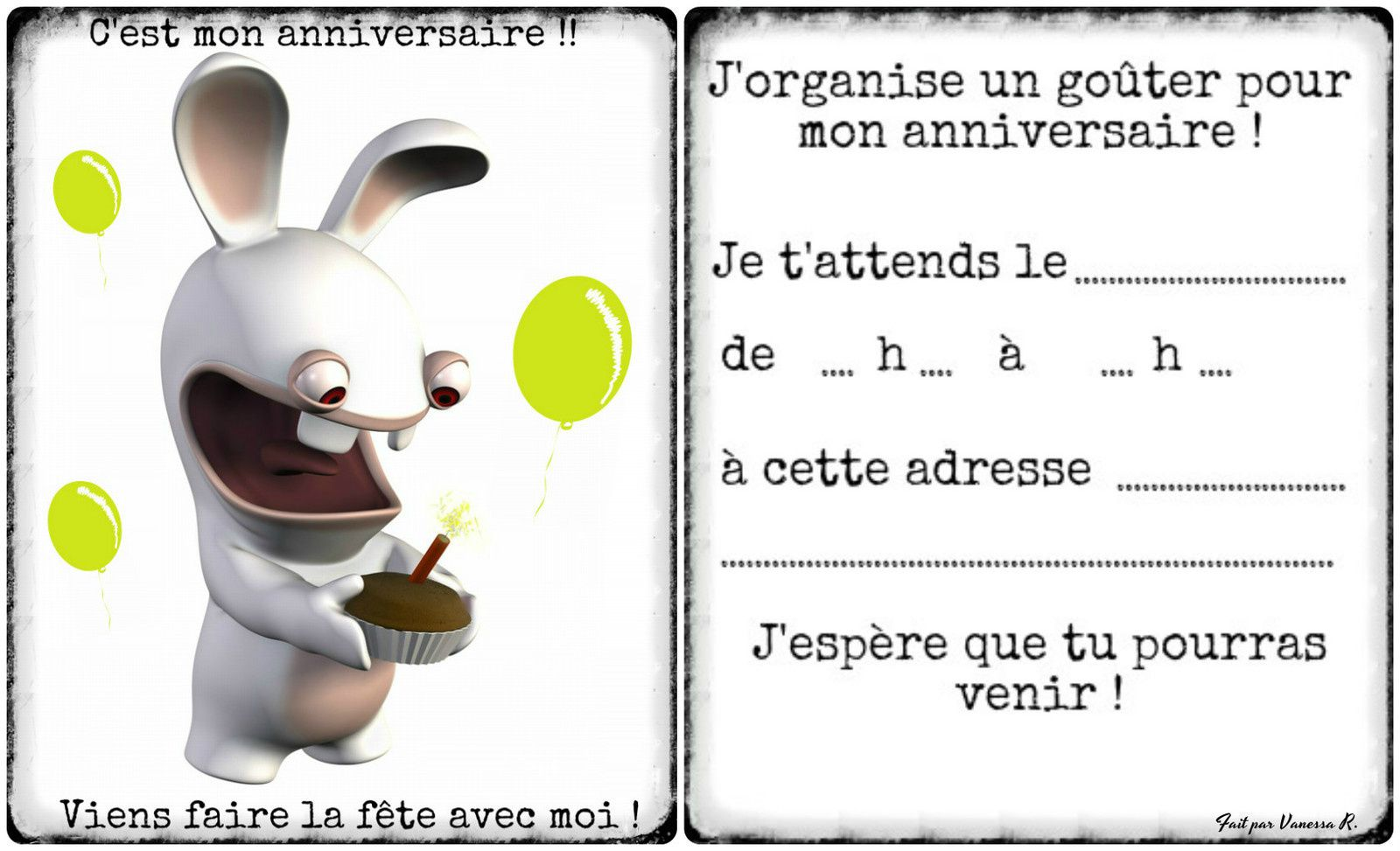 invitation anniversaire lapins cr tins gratuite dans la. Black Bedroom Furniture Sets. Home Design Ideas