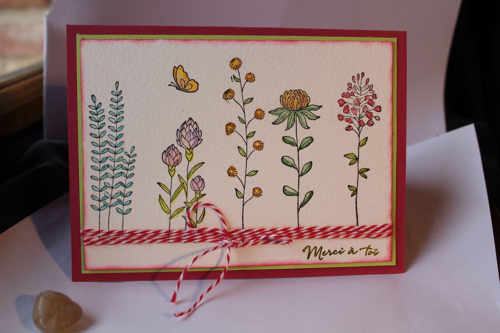 Carte réalisée à l'aquarelle avec les tampons offerts pour Célébrations de Stampin'UP
