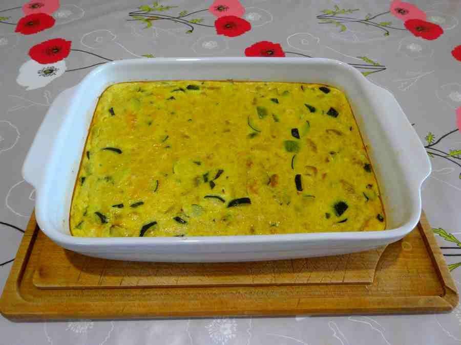 clafoutis de courgettes au poulet et au curry
