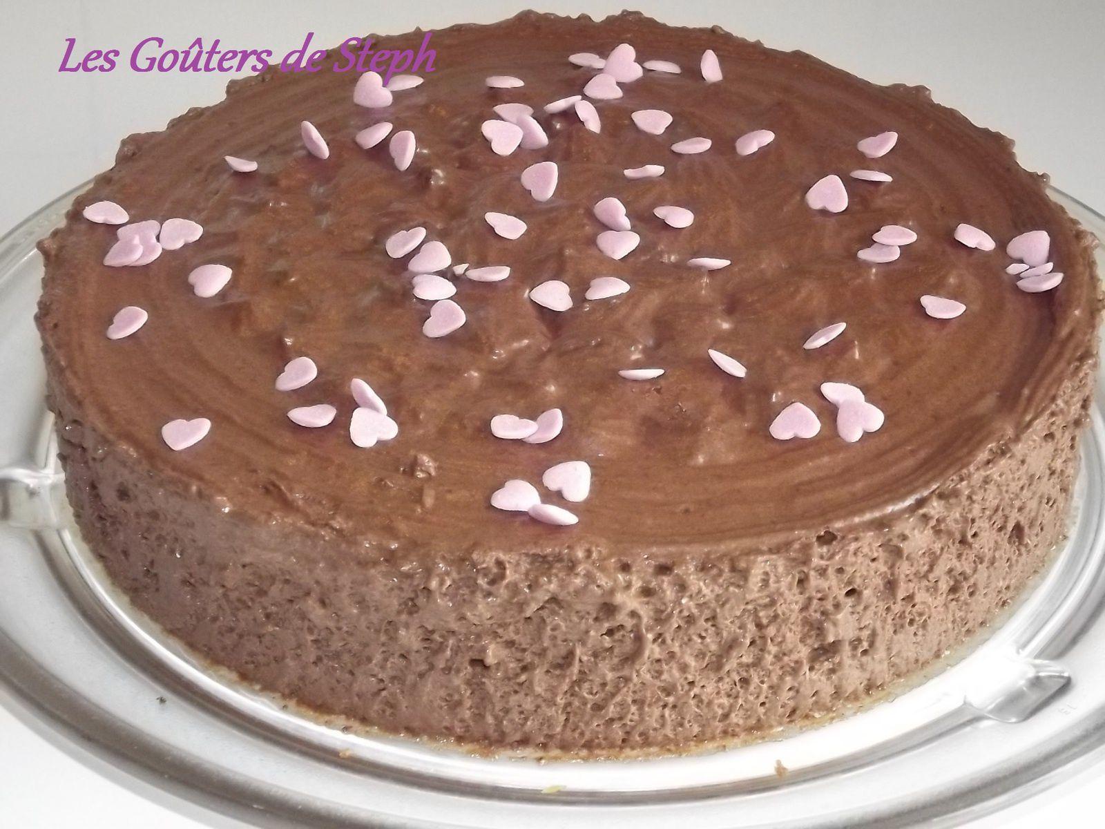 Gâteau mousse au chocolat et crème vanille
