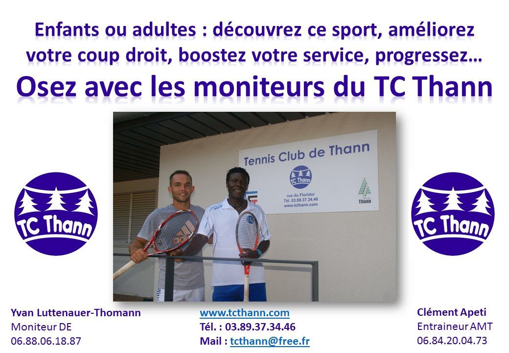 Inscriptions Tennis Club de Thann 2016/2017
