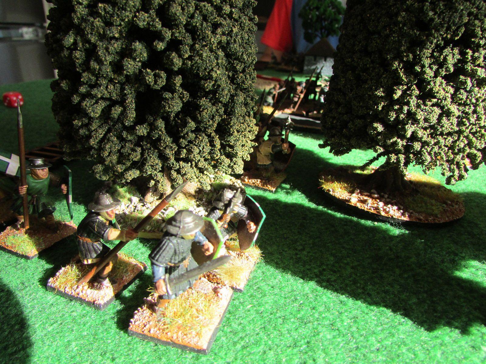 Les troupes avance à grand pas pour atteindre les remparts sous le couvert des bois et des habitations