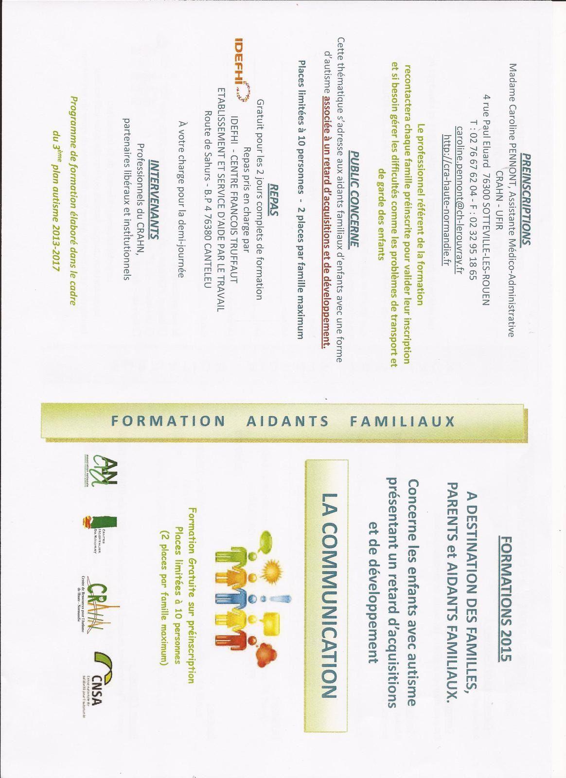 Centre Ressources Autisme/CRAHN/ FORMATIONS aidants familiaux