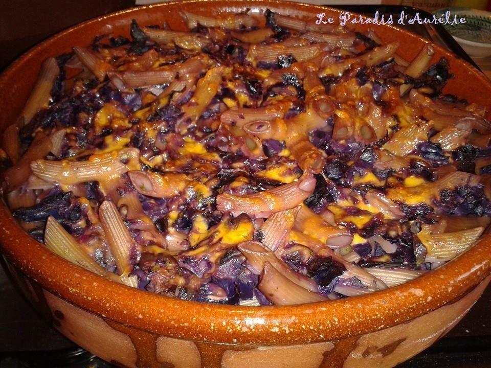 Pennes et fromage aux légumes