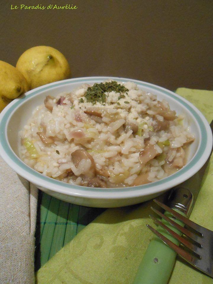 Risotto au poireau, champignons et citron