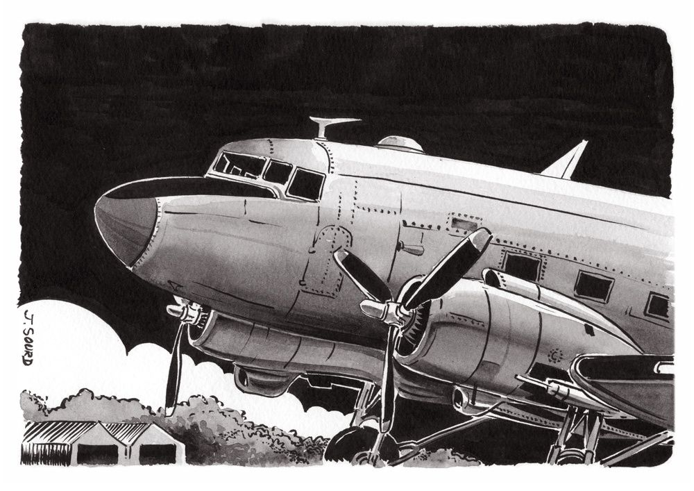Encre de chine aquarellé sur velin d'Arches - C47 Dakota - Jacques SOURD
