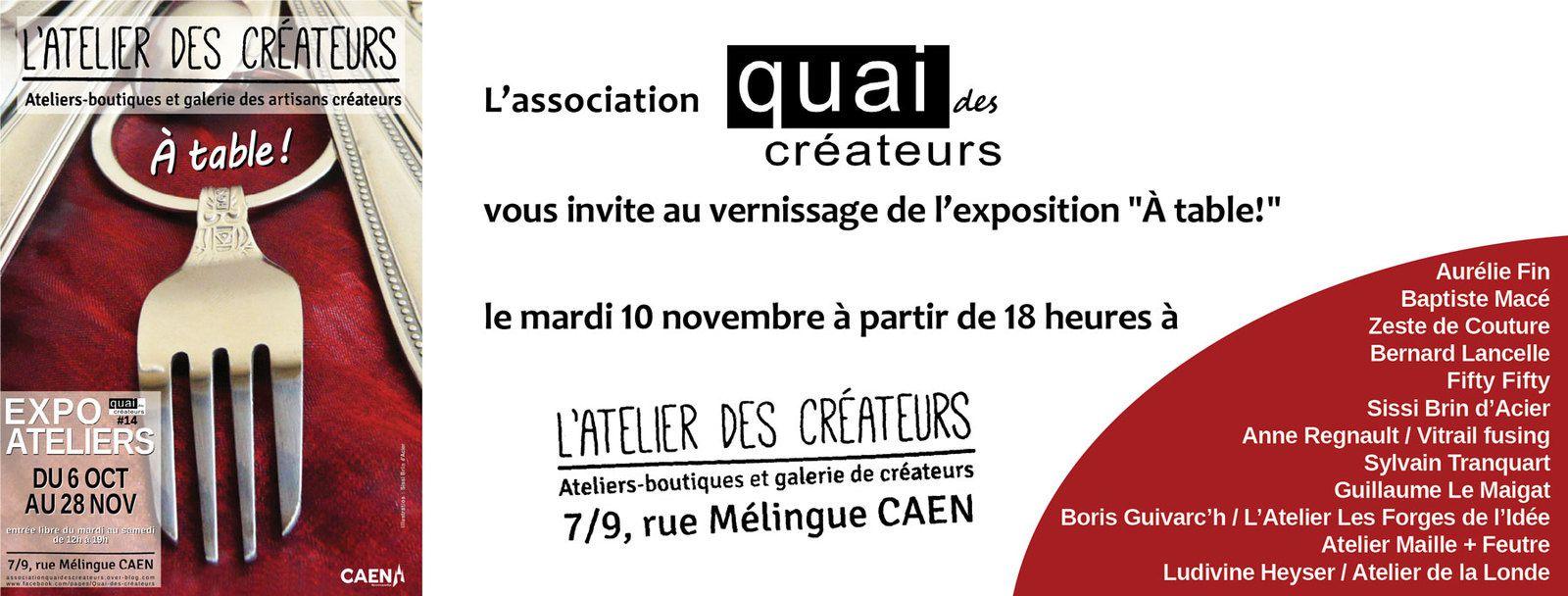 Vernissage de l'exposition &quot&#x3B;À table!&quot&#x3B; mardi 10 novembre à partir de 18h à L'Atelier des Créateurs