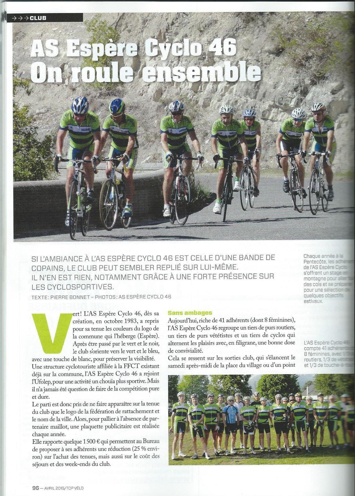 L'AS Espère Cyclo à l'honneur sur Top Vélo