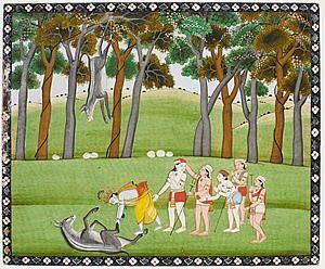 Krishna et Balarama terrassant le démon-âne Dhenukasura. Page d'un Bhagavata Purana. Gouache et or sur papier. Inde, école de Kangra, circa 1830-1840. L'épisode illustré est celui où un terrible démon ayant revêtu la forme d'un âne, Dhenukasura, hante la forêt de Talavana, terrorisant les villageois et habitants des environs. Voyant que même son frère Krishna hésitait à pénétrer la forêt à cause de Dhenukasura, Balarama décide de l'affronter. Un grand combat s'ensuit dont le coup final est porté par Krishna. Galerie Kevorkian, Paris