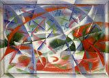 Giacomo Balla, Velocità astratta + rumore, 1913–1914 , huile, cadre peint par l'artiste, 54.5 x 76.5 cm. The Solomon R. Guggenheim Foundation, Peggy Guggenheim Collection, Venice 76.2553.31 © 2014 Artists Rights Society (ARS), New York / SIAE, Rome. Photo: Courtesy Solomon R. Guggenheim Foundation, New York