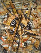 Carlo Carrà, Manifestazione Interventista, 1914, Tempera, crayon, collages sur carton, 38.5 x 30 cm. Gianni Mattioli Collection, prêt à long terme à the Peggy Guggenheim Collection, Venise © 2014 Artists Rights Society (ARS), New York / SIAE, Rome. Photo: Courtesy Solomon R. Guggenheim Foundation, New York