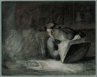 Honoré Daumier, L'Amateur d'estampes. Pierre noire, plume et encre noire, aquarelle, 189 x 237 mm. Rotterdam, Museum Boijmans Van Beuningen, Collection Franz Koenigs  / Henri-Joseph Harpignies, L'Atelier de l'artiste, 1909. Aquarelle sur une esquisse à la pierre noire, 291 x 229 mm. Paris, Fondation Custodia, Collection Frits Lugt