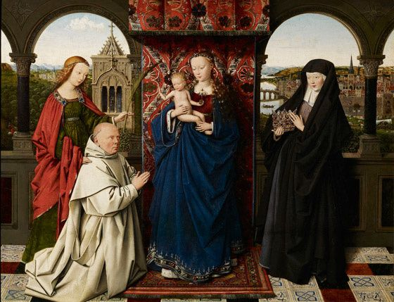 Jan van Eyck et son atelier, Vierge à l'enfant, saints et donateurs, vers 1441-1443, peinture sur bois 47,3 x 61,3 cm. The Frick Collection, New York  /  Courtesy site Internet www.frick.org