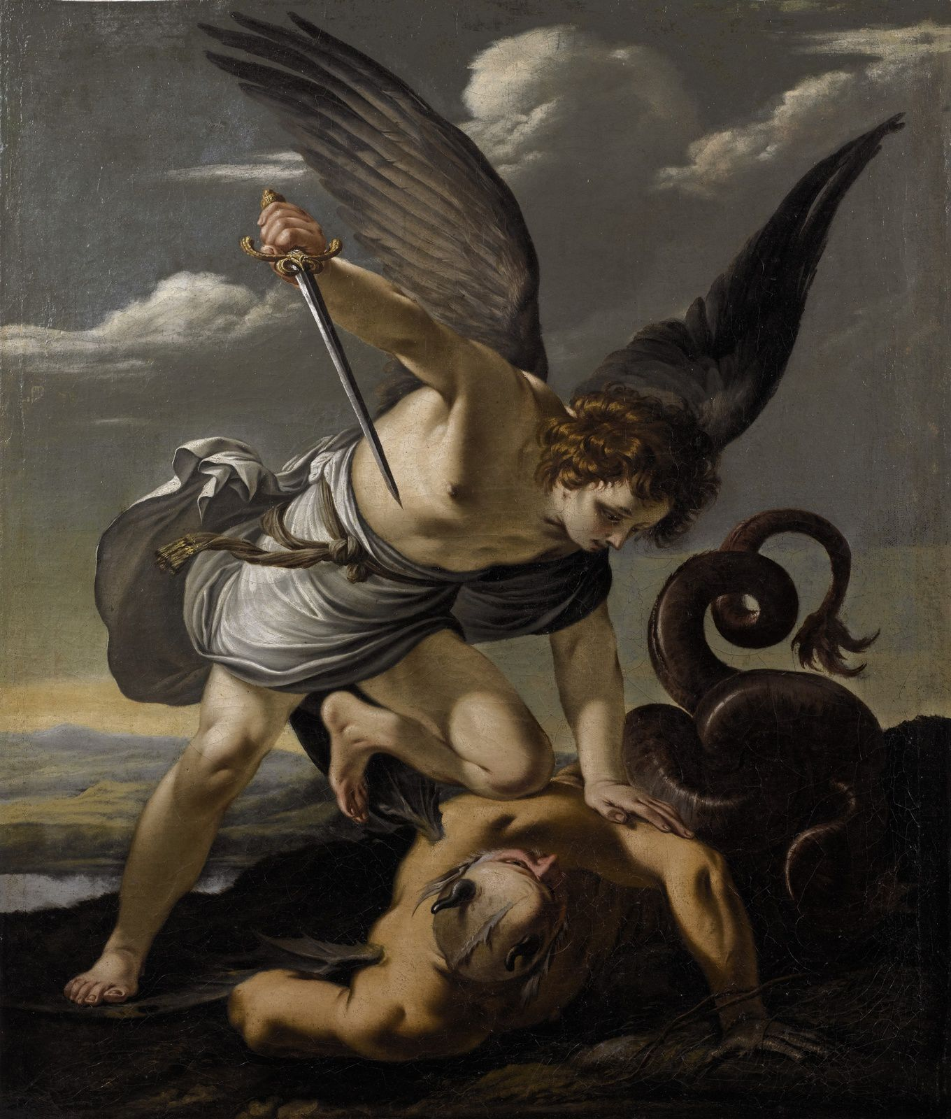 Attribué à Laurent De La Hyre, Saint Michel terrassant le dragon, 1645. Huile sur toile 101 x 85,5cm.Estimation : 60 000 – 80 000 euros © Crédit Photo Art Digital Studio / Sotheby's France