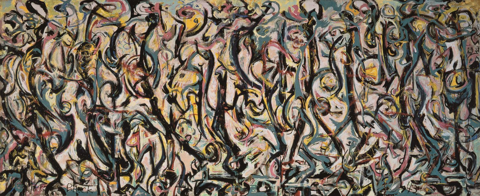 Jackson Pollock, Mural, 1943, oil and casein on canvas, 242.9 x 603.9 cm.. Gift of Peggy Guggenheim, 1959. University of Iowa Museum of Art. Reproduced with permission from The University of Iowa