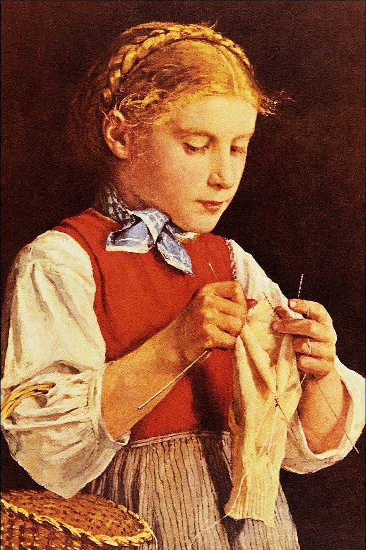 Broderie, tricot, tapisserie, broderie, dentelle dans la peinture