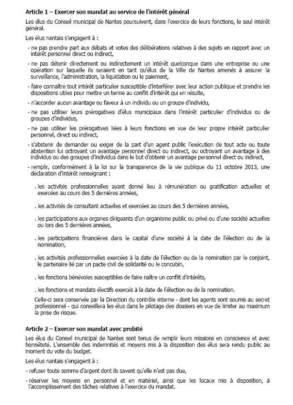 3 - Charte de déontologie des élus