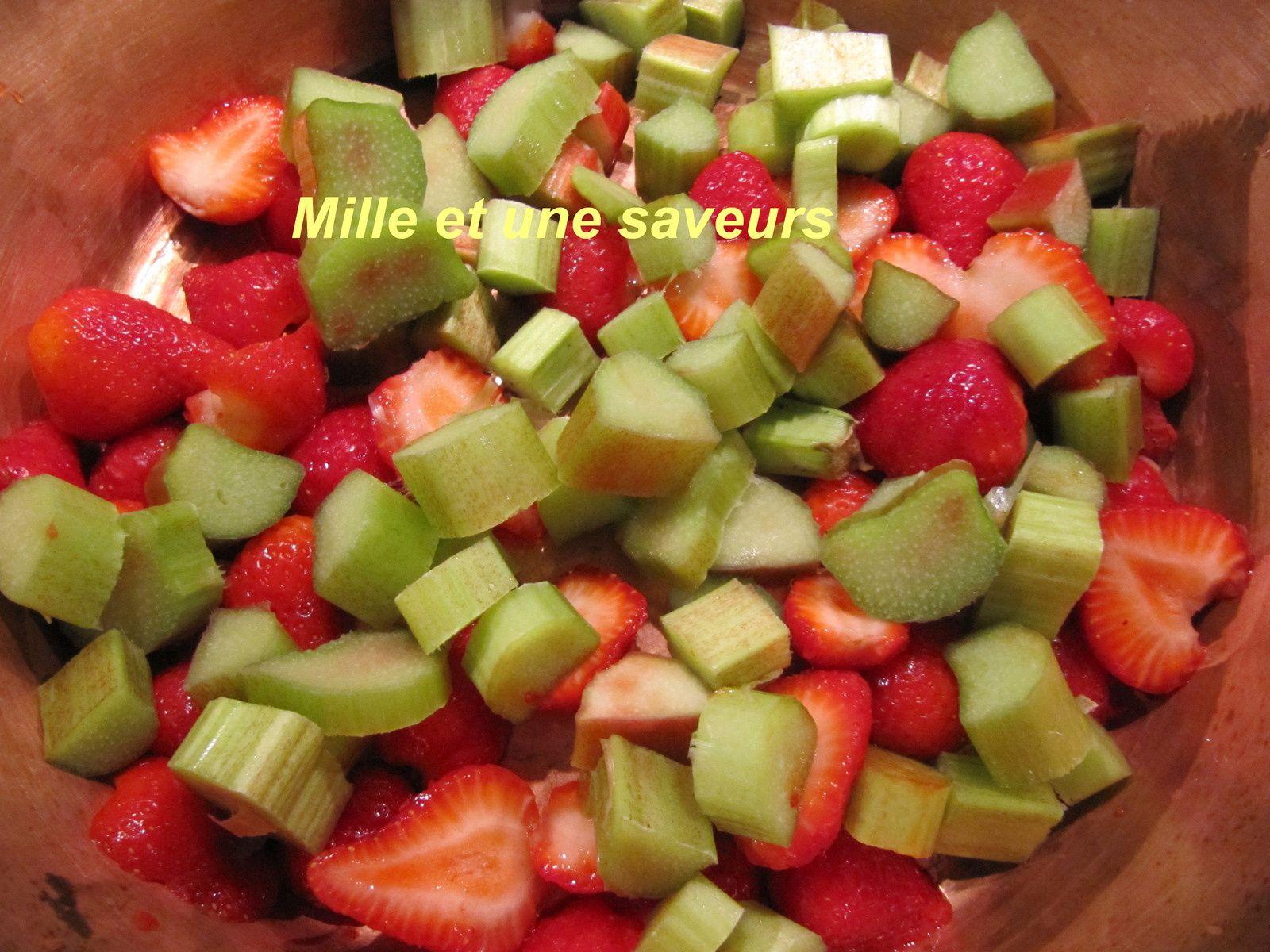 Confiture rhubarbe fraise et confiture rhubarbe banane
