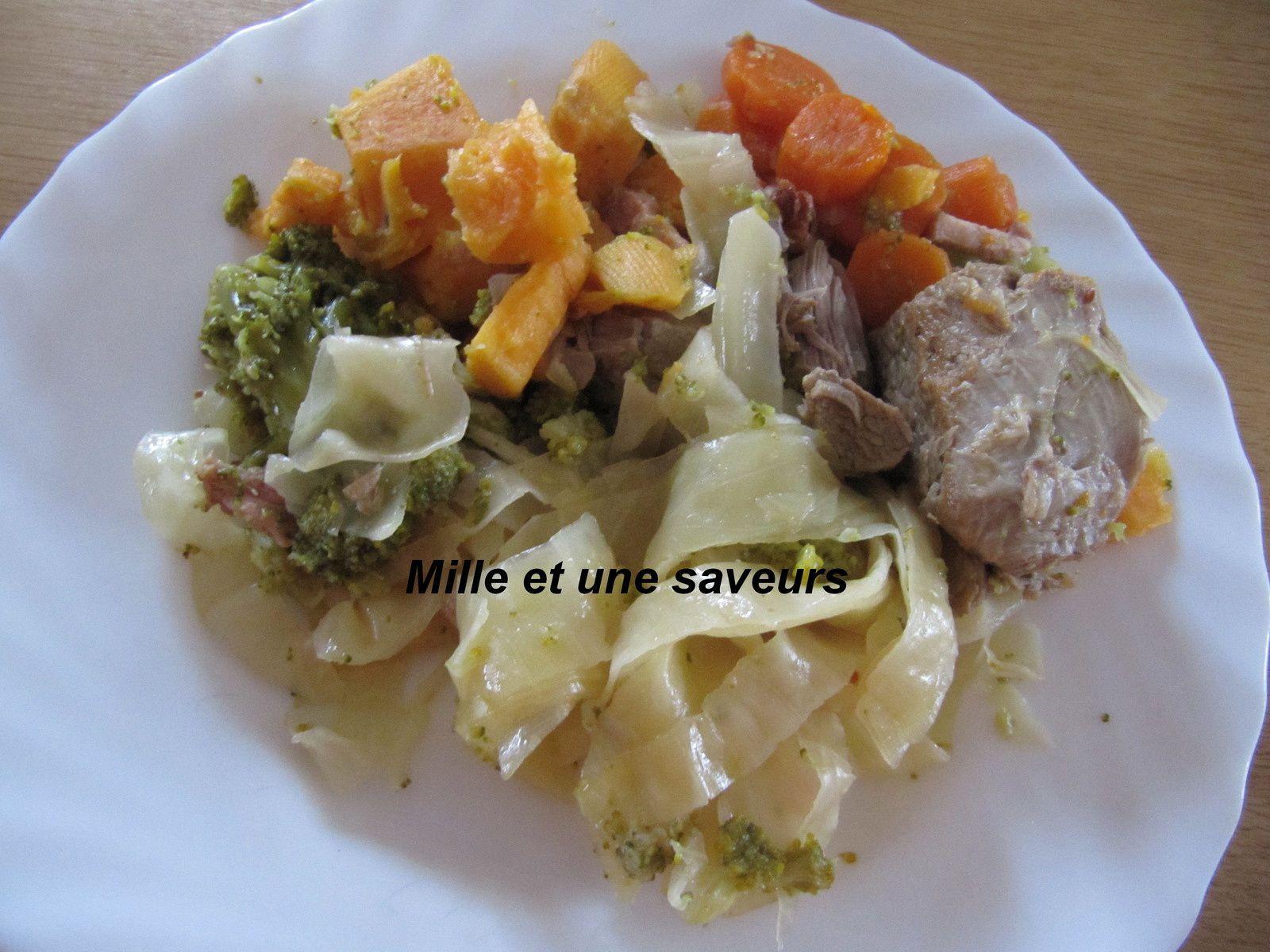 Poêlée de choux, carottes, patates douces et ses petits lardons au cookéo