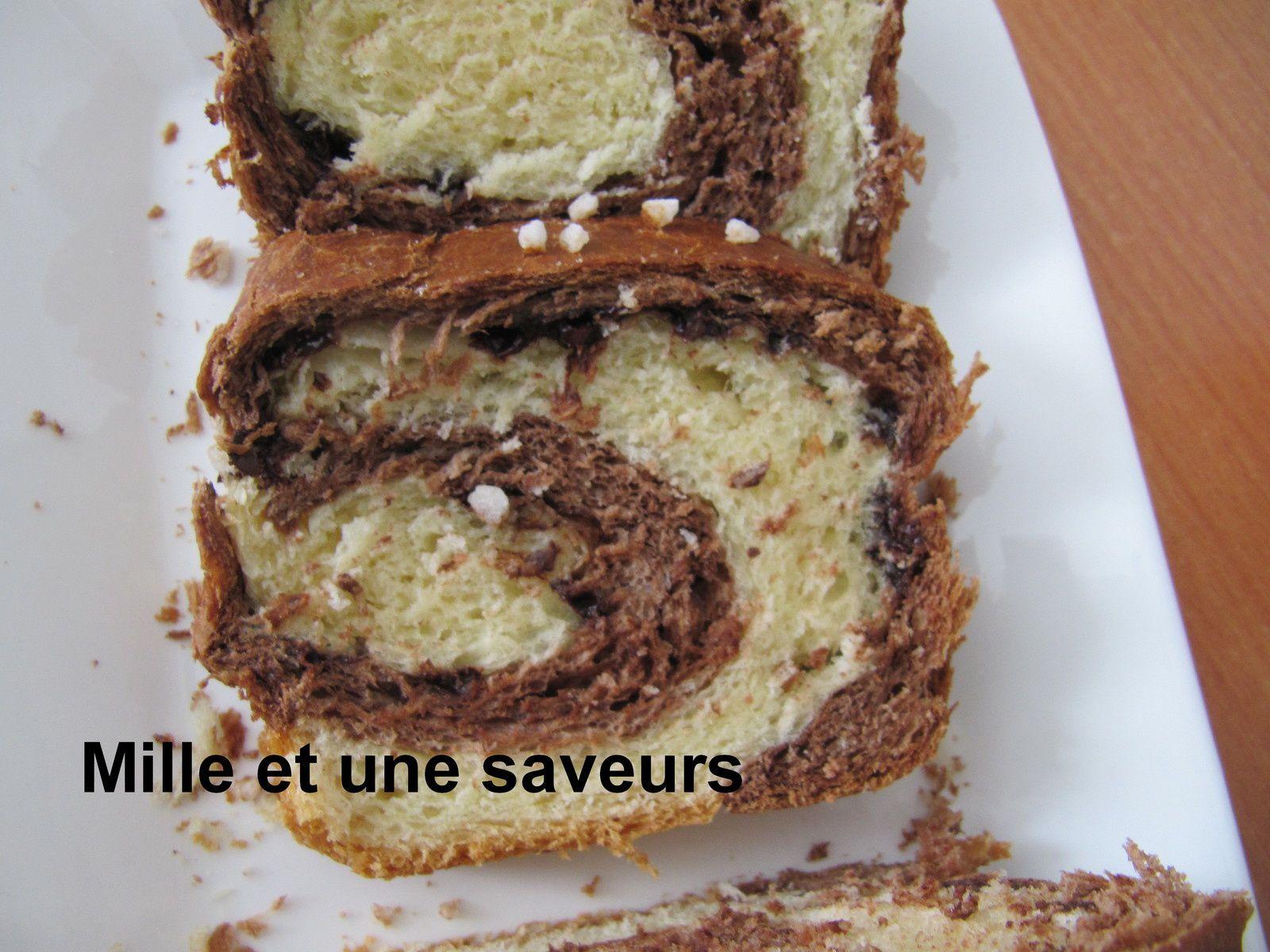 Brioche marbrée et ses pépites de chocolat au thermomix