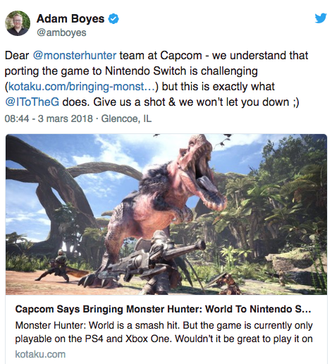 Un candidat pour porter Monster Hunter Worlds sur Switch