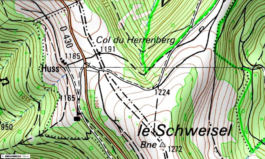 Le col du Herrenberg (Géoportail)