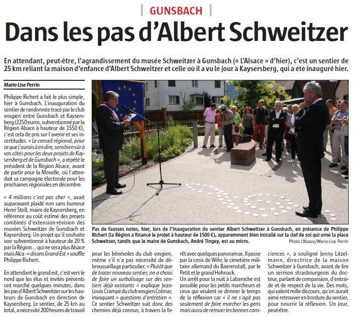 L'article de l'Alsace, du 26 juillet