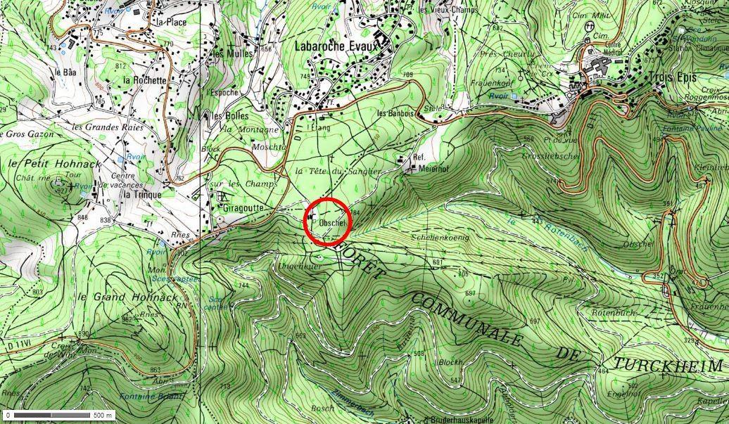 Obschel : entre les Trois-Épis et Labaroche (cliquer pour agrandir)