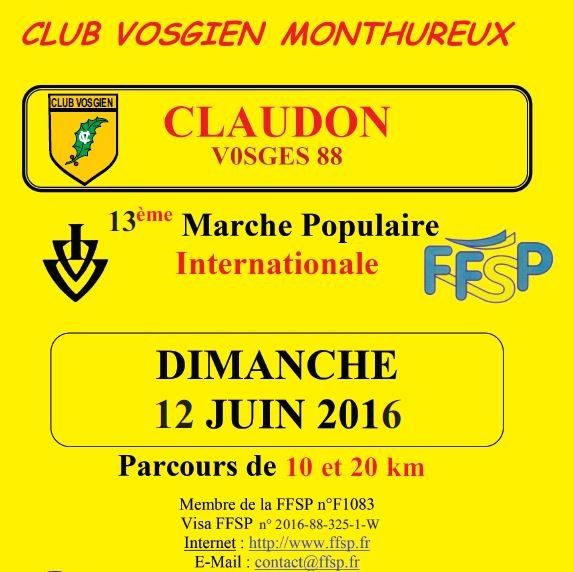 Dimanche 12 juin - Marche populaire à Monthureux