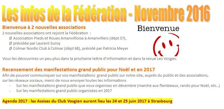 Novembre - La lettre de la fédération du Club vosgien